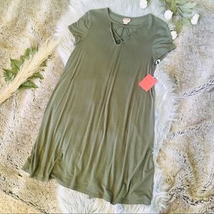 MOSSIMO Olive T-Shirt Dress